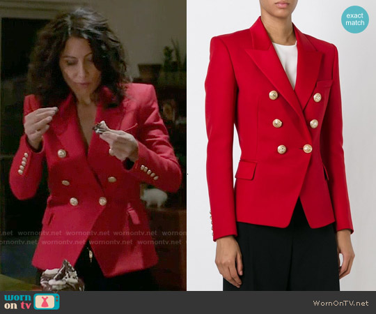 Balmain Red Fitted Blazer worn by Lisa Edelstein on GG2D