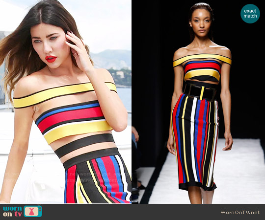 Balmain Spring 2015 Collection Striped Off-Shoulder Top and Skirt worn by Jacqueline MacInnes Wood on The Bold & the Beautiful