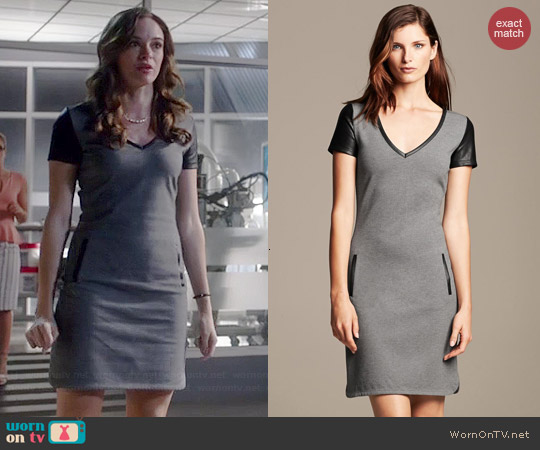 Banana Republic Faux Leather Trim Shift in Dark Charcoal worn by Danielle Panabaker on The Flash