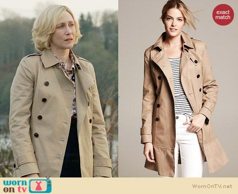Banana Republic Flared Trench worn by Vera Farmiga on Bates Motel