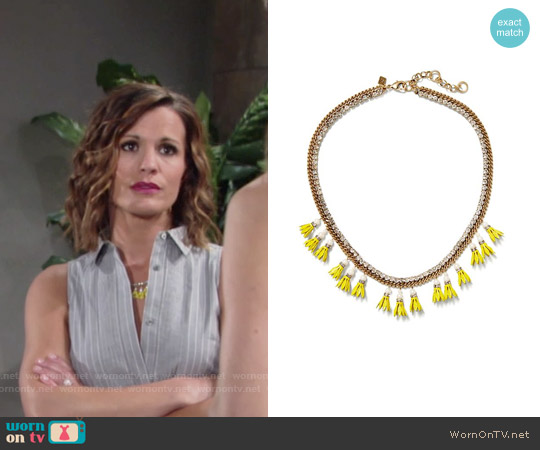 Banana Republic Floral Bell Necklace worn by Chelsea Lawson on The Young & the Restless