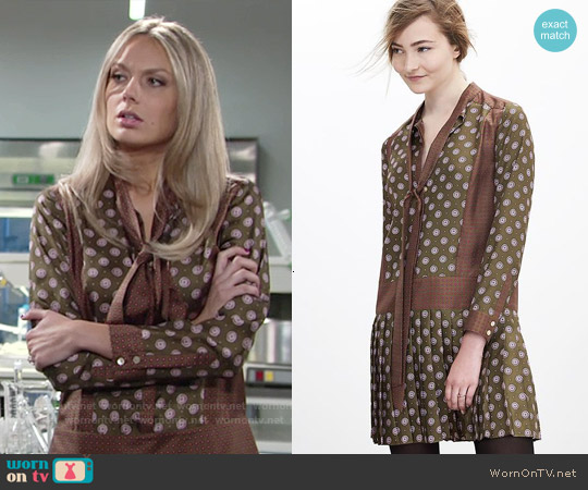 Banana Republic Foulard Silk Bow Dress worn by Melissa Ordway on The Young & the Restless