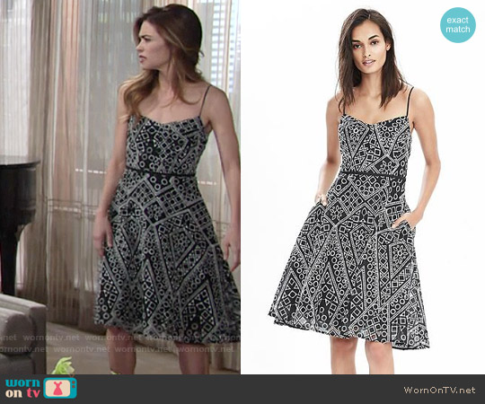 Banana Republic Geo Lace Strappy Dress worn by Amelia Heinle on The Young & the Restless
