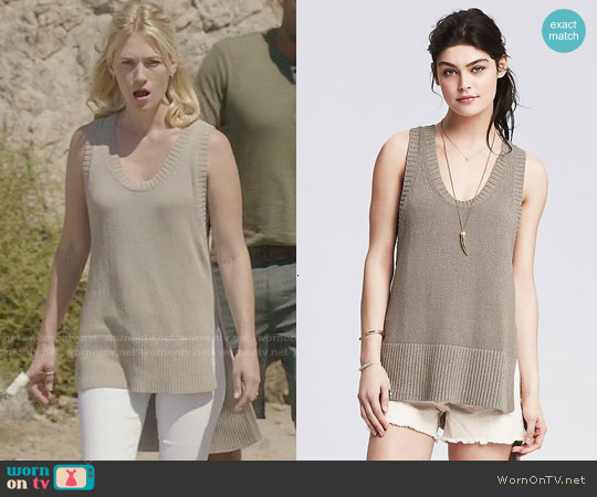 Banana Republic High/Low Sweater Tank worn by January Jones on Last Man On Earth