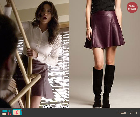 Banana Republic Leather Fit & Flare Skirt worn by Shay Mitchell on PLL