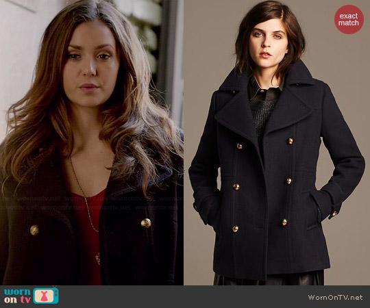 Banana Republic Navy Wool Peacoat worn by Nina Dobrev on The Vampire Diaries