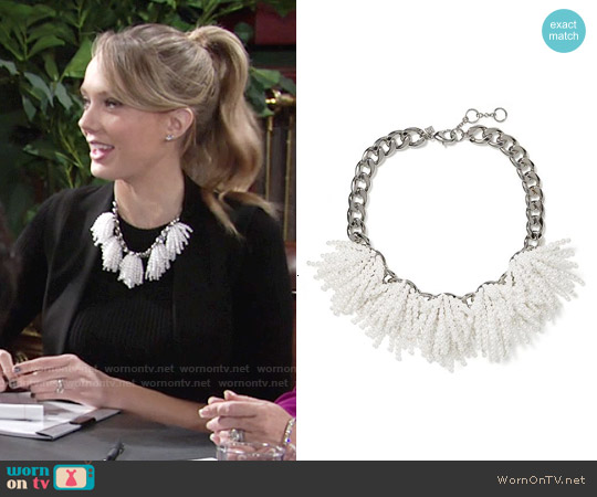 Banana Republic Pearl Explosion Necklace worn by Melissa Ordway on The Young & the Restless