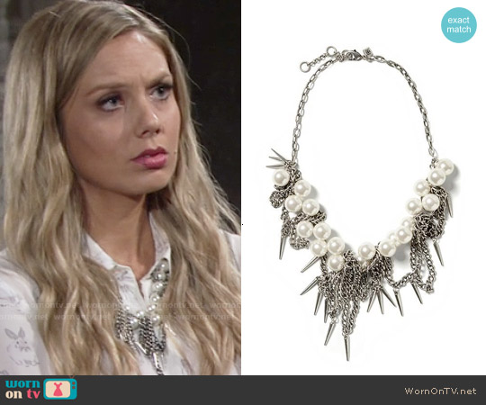 Banana Republic Pearl Spike Necklace worn by Melissa Ordway on The Young & the Restless