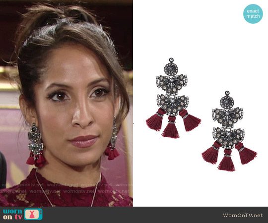 Banana Republic Radiant Tassel Chandelier Earrings worn by Lily Winters on The Young & the Restless