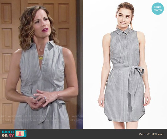 Banana Republic Sleeveless Oxford Shirtdress worn by Melissa Claire Egan on The Young & the Restless