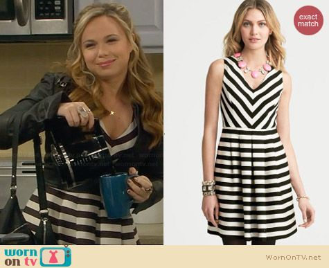 Banana Republic Striped Dress in Black Combo worn by Amanda Fuller on Last Man Standing