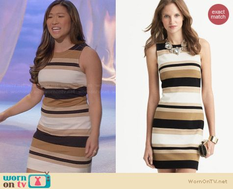 Banana Republic Striped Ponte V-Back Dress worn by Jenna Ushowitz on Glee