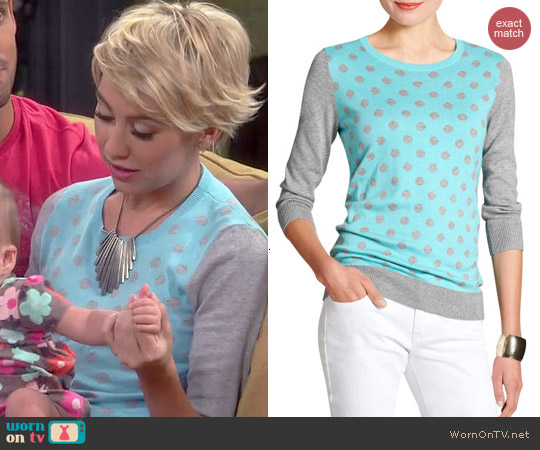 Banana Republic Three Quarter Sleeve Polka Dot Sweater worn by Chelsea Kane on Baby Daddy
