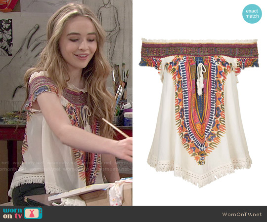 Band of Gypsies Tassel Front Woven Top worn by Sabrina Carpenter on Girl Meets World