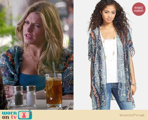Band of Gypsies Print Chiffon Kimono Jacket worn by Jess Macallan on Mistresses