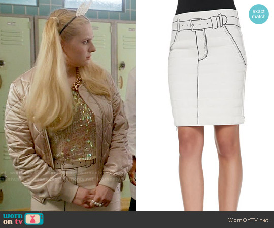 Band of Outsiders Tromp L'Oeil Printed Side-Zip Miniskirt worn by Chanel #5 on Scream Queens
