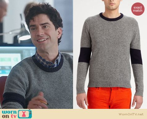 Band of Outsiders Blocked Crewneck Sweater worn by Hamish Linklater on The Crazy Ones