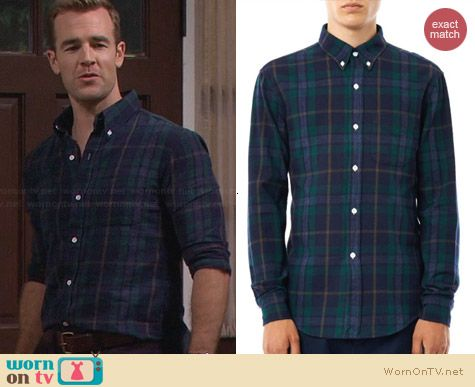 Band of Outsiders Check Print Flannel Shirt worn by James Van Der Beek on FWBL