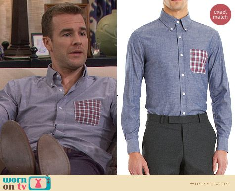 Band of Outsiders Contrast Pocket Shirt worn by James van der Beek on FWBL