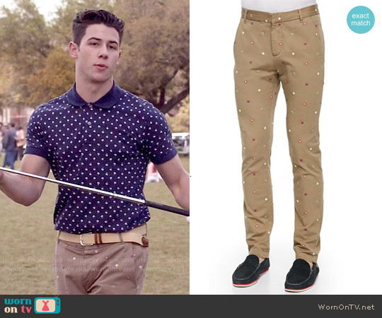 Band of Outsiders Embroidered Foulard Chino Pants worn by Boone on Scream Queens