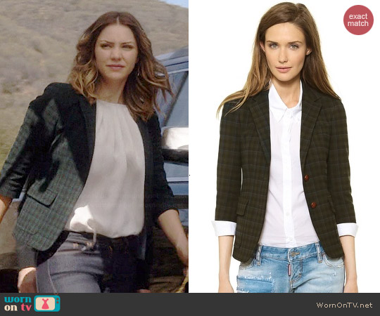 Band of Outsiders Plaid Schoolboy Blazer worn by Katharine McPhee on Scorpion