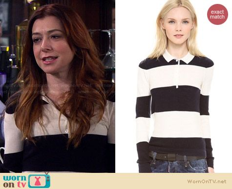 Band of Outsiders Rugby Sweater worn by Alyson Hannigan on HIMYM