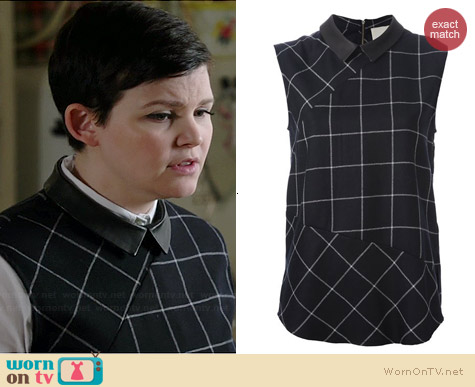 Band of Outsiders Sleeveless Check Blouse with Leather Collar worn by Ginnifer Goodwin on OUAT