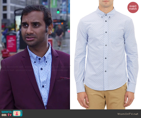 Band of Outsiders Stripe & Dash Dobby Shirt worn by Aziz Ansari on Parks & Rec