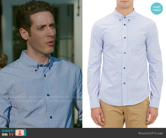 Band of Outsiders Stripe & Dash Dobby Shirt worn by 	Paulo Costanzo on Royal Pains
