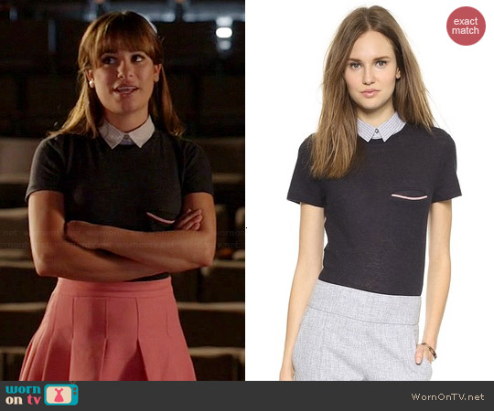 Band of Outsiders Knit Top with Shirt Collar worn by Rachel Berry on Glee