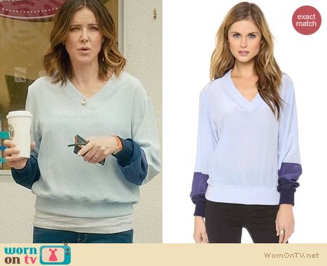 Band of Outsiders Tonal Silk Sweatshirt worn by Christa Miller on Cougar Town
