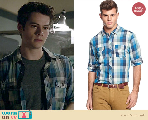 Bar III Long Sleeve Plaid Button Down Shirt worn by Dylan O'Brian on Teen Wolf