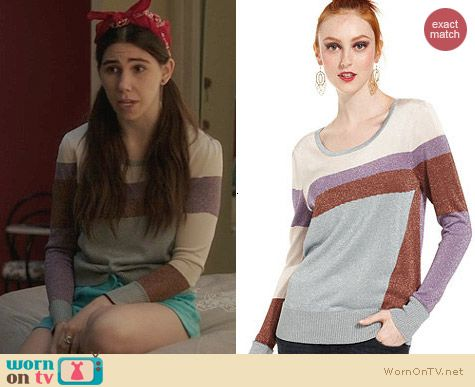 Bar III Colorblock Sweater worn by Zosia Mamet on Girls