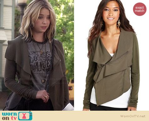 Bar III Asymmetrical Knit Jacket worn by Ashley Benson on PLL