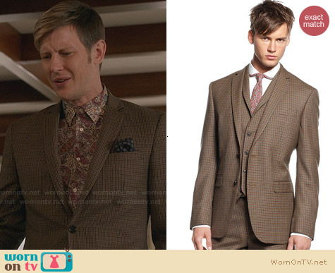 Bar III Carnaby Brown Check Jacket worn by Gabriel Mann on Revenge