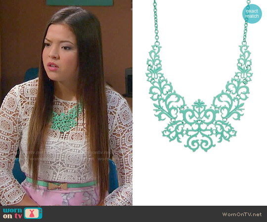 Bar III Mint Tone Lace Design Bib Necklace worn by Piper Curda on IDDI