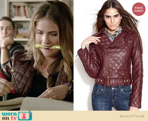 Bar III Quilted Faux Leather Motorcycle Jacket worn by Shelley Hennig on Teen Wolf