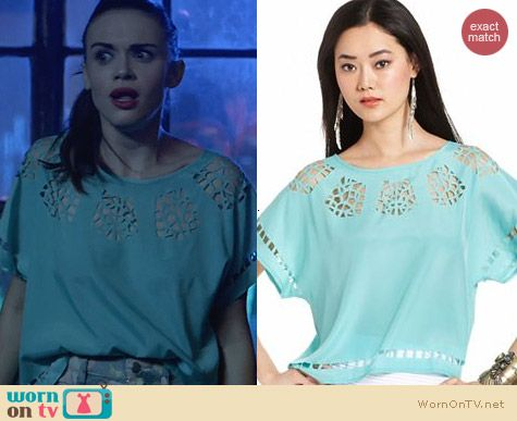 Bar III Scoop Neck Cutout Top in Mint worn by Holland Roden on Teen Wolf