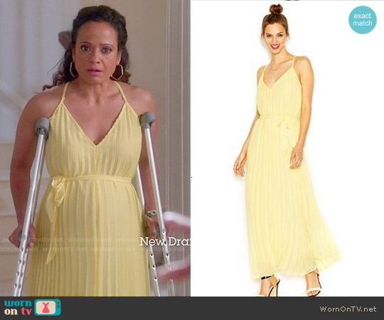 Bar III Sleeveless V-Neck Racerback Pleated Maxi Dress worn by Judy Reyes on Devious Maids