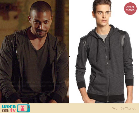 Bar III Zip Front Leather Trim Hoodie worn by Charles Michael Davis on The Originals