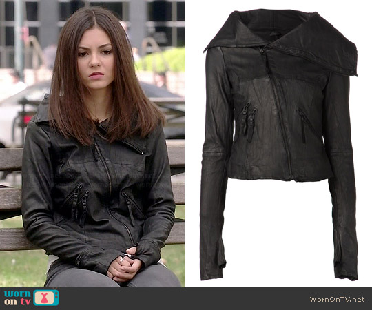 Barbara | Gongini Gloved Leather Jacket worn by Victoria Justice on Eye Candy