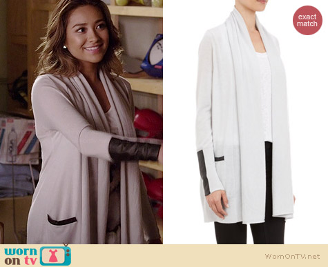 Barneys New York Leather Trim Drape Front Cardigan worn by Shay Mitchell on PLL
