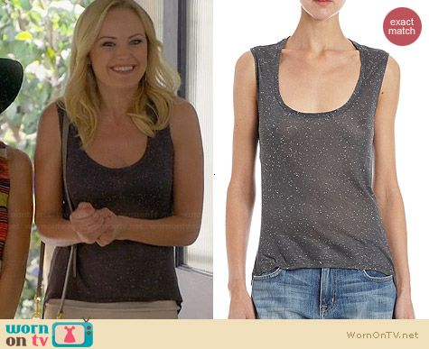 Barneys New York Long Back Speckled Tank worn by Malin Akerman on Trophy Wife