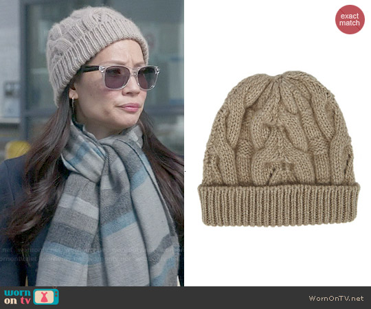 Barneys New York Cable Knit Beanie worn by Lucy Liu on Elementary