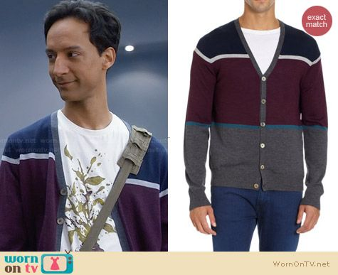 Barneys New York Colorblocked Cardigan worn by Abed Nadir on Community