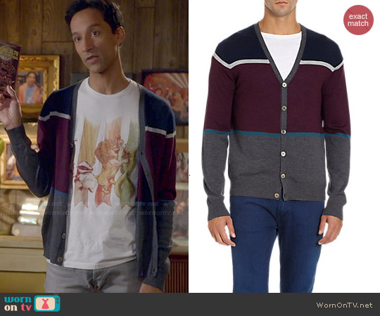 Barneys New York Colorblock Cardigan worn by Abed Nadir on Community