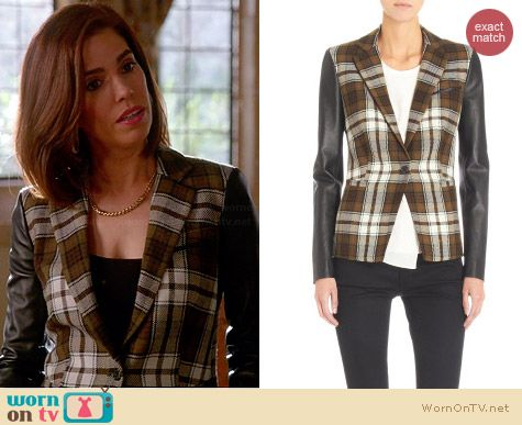 Barneys New York Leather Sleeves One-Button Plaid Jacket worn by Ana Ortiz on Devious Maids