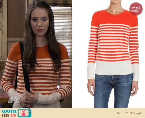 Barneys New York Orange Striped Sweater worn by Alison Brie on Community
