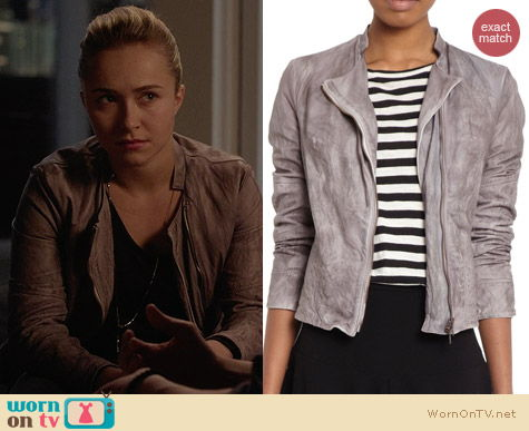 Barneys New York Faded Quilted Panels Leather Jacket worn by Hayden Panettiere on Nashville