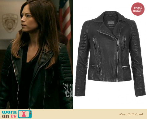 BATB Fashion: All Saints Pitch Leather Jacket worn by Kristen Kreuk